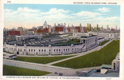 Chicago Bears Soldier Field 1933 postcard