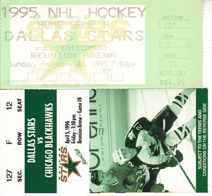 Chicago Blackhawks at Dallas Stars lot of 2 vintage 1990s ticket stubs