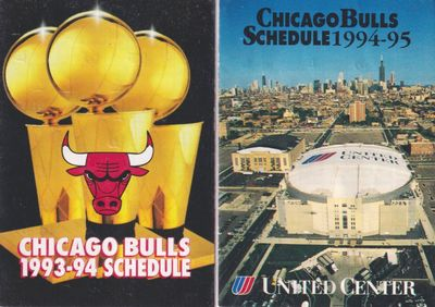 Chicago Bulls 1993-94 and 1994-95 pocket schedules (Michael Jordan)