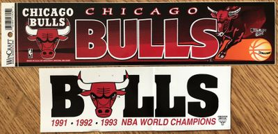 Chicago Bulls set of 2 unused bumper stickers (1991 1992 1993 NBA World Champions and undated)