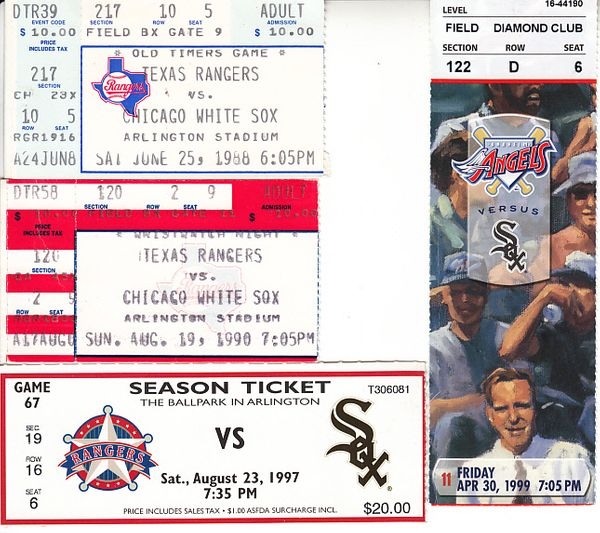 Chicago White Sox lot of 4 vintage road game ticket stubs (Frank Thomas)