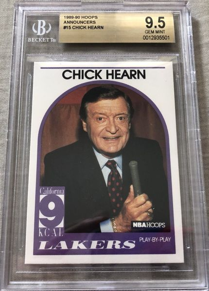 Chick Hearn Los Angeles Lakers 1989-90 Hoops Announcers card graded BGS 9.5 GEM MINT RARE