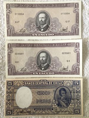 Chile lot of 3 uncirculated banknotes (1 escudo and 5 pesos)