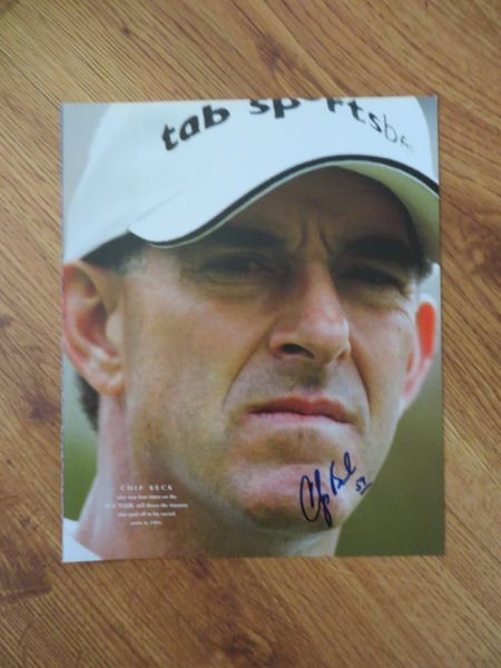 Chip Beck autographed 10x13 golf book photo inscribed 59