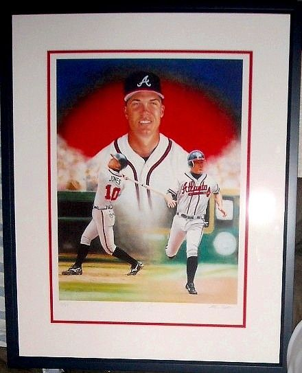 Chipper Jones autographed Atlanta Braves giclee art matted and framed #11/110
