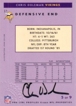 Chris Doleman certified autograph Minnesota Vikings 1992 Pro Line card