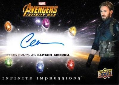 Chris Evans certified autograph Avengers Infinity War 2018 Marvel Upper Deck Infinite Impressions card