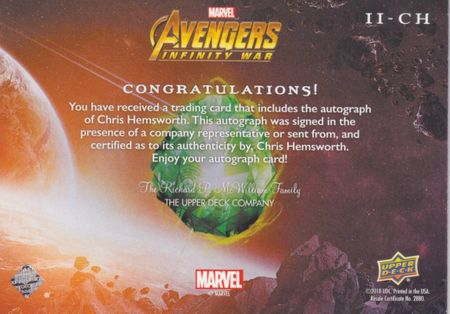 Chris Hemsworth Avengers Infinity War THOR 2018 Upper Deck Infinite Impressions certified autograph card