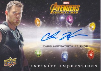 Chris Hemsworth Avengers Infinity War 2018 Upper Deck Infinite Impressions certified autograph card