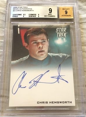 Chris Hemsworth certified autograph Star Trek movie 2009 Rittenhouse card graded BGS 9 MINT
