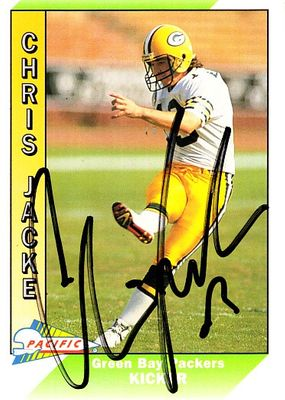 Chris Jacke autographed Green Bay Packers 1991 Pacific card