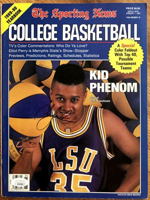Chris Jackson autographed LSU Tigers 1989-90 Sporting News College Basketball Yearbook magazine (RARE)