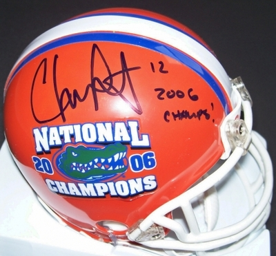 Chris Leak autographed Florida Gators 2006 National Champions mini helmet inscribed 2006 Champs (Real Deal Memorabilia)