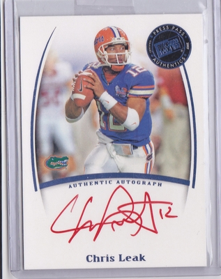 Chris Leak certified autograph Florida Gators 2007 Press Pass card (red ink version)