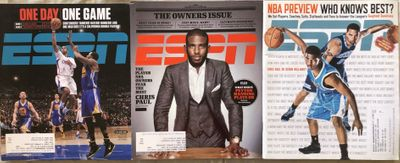 Chris Paul lot of 3 different ESPN Magazine issues 2008 2014 and 2015