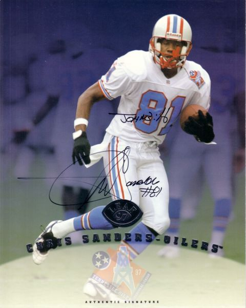Chris Sanders certified autograph Tennessee Oilers 1997 Leaf 8x10 photo card