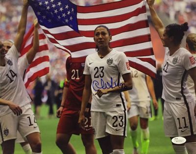 Christen Press autographed 2015 U.S. Soccer Women's World Cup celebration 11x14 photo (JSA Witnessed)