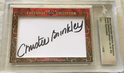 Christie Brinkley and Frederique van der Wal 2018 Leaf Masterpiece Cut Signature certified autograph card 1/1 JSA