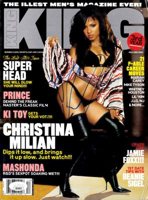 Christina Milian autographed 2004 KING magazine with sexy cover JSA