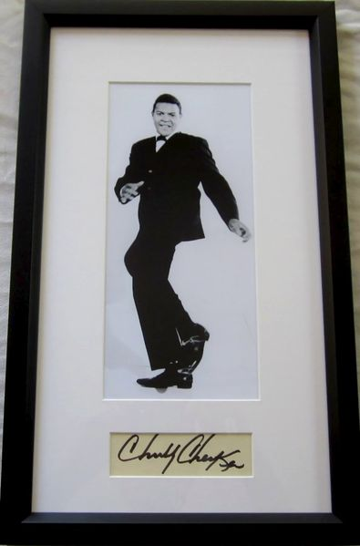 Chubby Checker autograph matted & framed with vintage photo