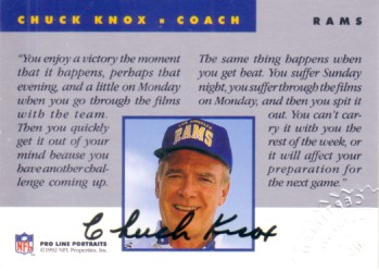 Chuck Knox certified autograph Los Angeles Rams 1992 Pro Line card