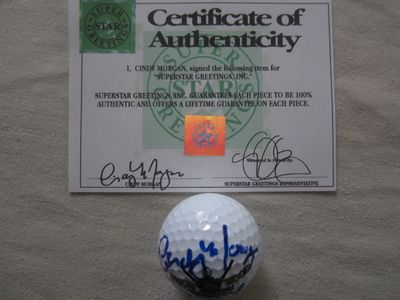 Cindy Morgan autographed Caddyshack Bushwood Country Club logo golf ball (Superstar Greetings)