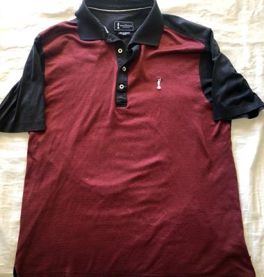 Claret Jug logo Open Championship scarlet and black golf shirt
