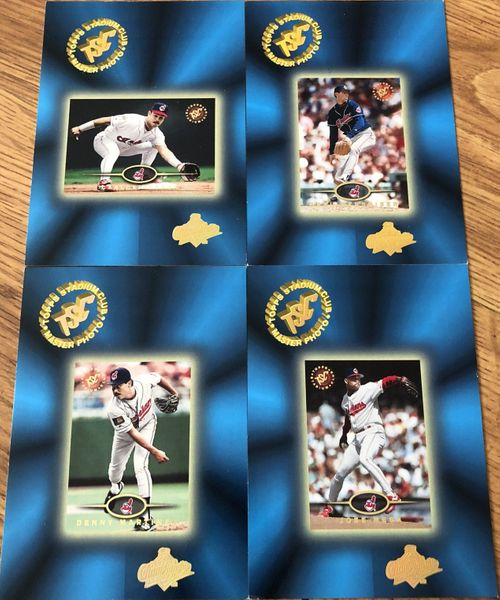 Lot of 4 Cleveland Indians 1995 Stadium Club World Series 5x7 Master Photo cards Carlos Baerga Orel Hershiser Jose Mesa