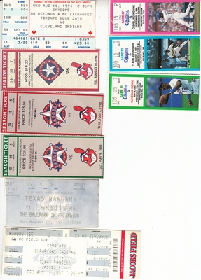 Cleveland Indians lot of 9 vintage 1990s ticket stubs