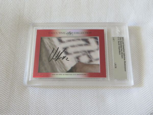 Clint Dempsey and Jozy Altidore 2015 Leaf Masterpiece Cut Signature certified autograph card 1/1
