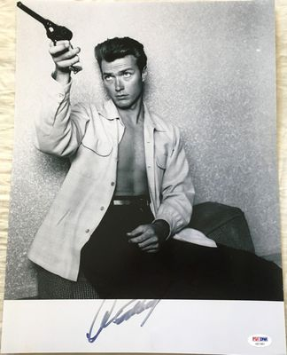 Clint Eastwood autographed 12x16 vintage 1950s black and white photo (PSA/DNA)