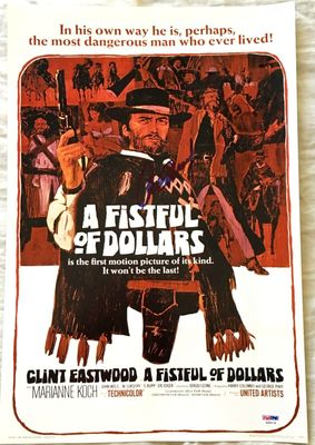 Clint Eastwood autographed A Fistful of Dollars movie poster 12x18 print (PSA/DNA)