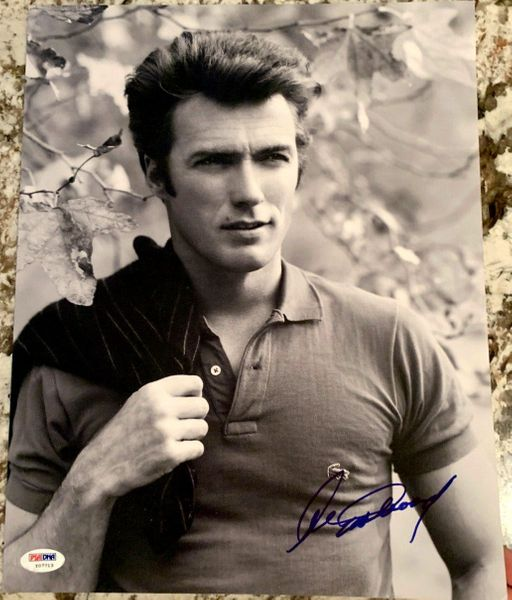 Clint Eastwood autographed vintage black and white 11x14 portrait photo (PSA/DNA)