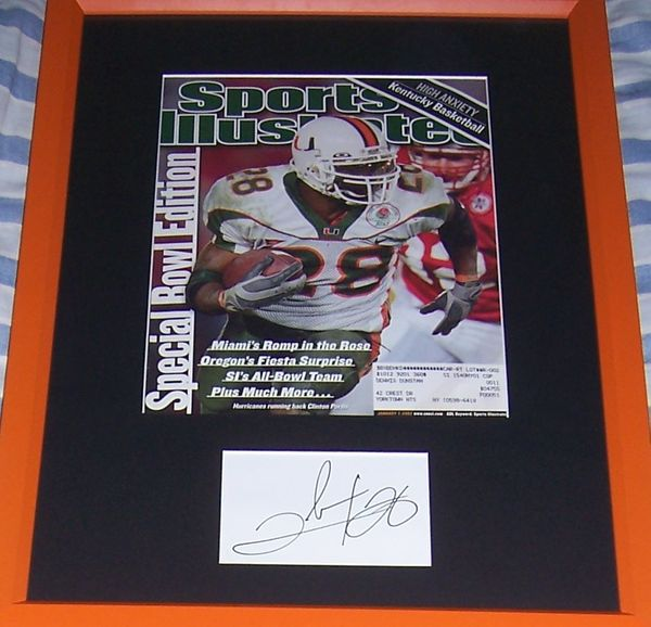 Clinton Portis autograph matted & framed with Miami Hurricanes 2001 National Champions Sports Illustrated cover