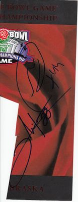 Clinton Portis & Najeh Davenport autographed 2001 BCS National Championship 2002 Rose Bowl program cover (trimmed)