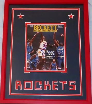 Clyde Drexler autographed Houston Rockets 1995 Beckett Basketball cover custom matted and framed
