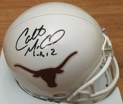 Colt McCoy autographed Texas Longhorns mini helmet (minor flaws)