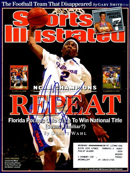 Corey Brewer autographed Florida Gators 2007 National Championship Sports Illustrated
