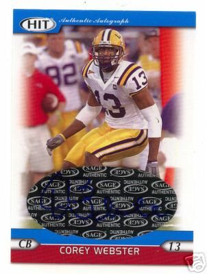 Corey Webster certified autograph LSU Tigers 2005 Sage HIT card