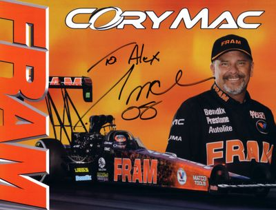Cory Mac autographed Fram 8x11 NHRA photo card (to Alex)