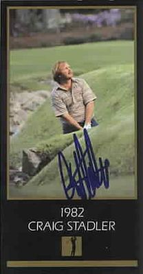 Craig Stadler autographed 1982 Masters Champion golf card