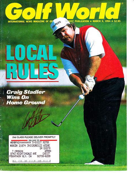 Craig Stadler autographed 1994 Golf World magazine cover