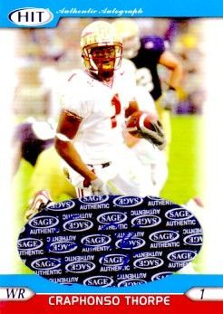 Craphonso Thorpe Florida State Seminoles 2005 SAGE certified autograph card