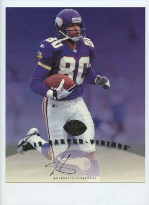 Cris Carter certified autographed Minnesota Vikings 1997 Leaf 8x10 photo card