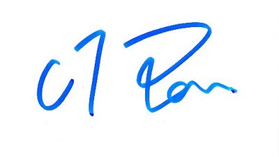C.T. Pan autographed business card
