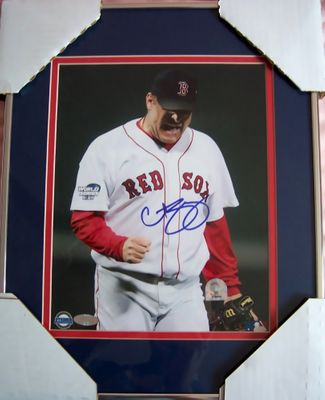 Curt Schilling autographed Boston Red Sox 2004 World Series 8x10 photo matted and framed (Steiner)