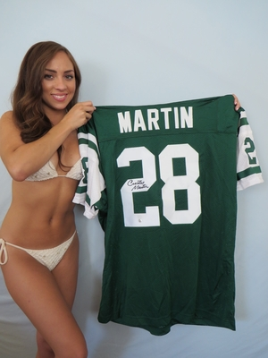 Curtis Martin autographed New York Jets stitched green jersey (GTSM)