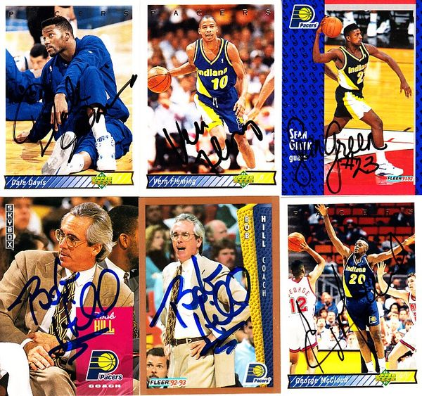 6 Indiana Pacers autographed 1990s cards (Dale Davis Vern Fleming)