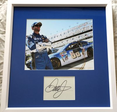 Dale Earnhardt Jr. autograph matted and framed with Daytona Motor Speedway 8x10 photo