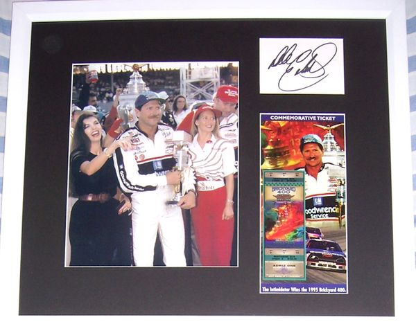 Dale Earnhardt Sr. autograph framed with 1995 Brickyard 400 8x10 photo & commemorative ticket